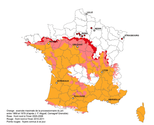 repartition chenilles processionnaires carte france